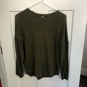 Old Navy Army Green Puff Sleeve Sweater